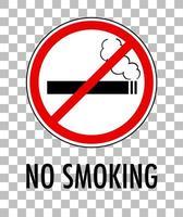 placa de não fumar isolada em fundo transparente vetor