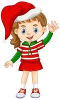 linda garota vestindo fantasias de natal personagem de desenho animado vetor