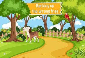 pôster idiomático com latindo na árvore errada vetor