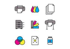 Conjunto de ícones de impressão de tela esboçada vetor