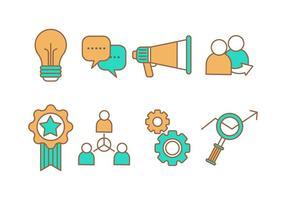 Ícones gratuitos de linha de marketing digital vetor