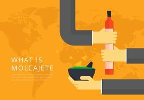 Moljacete Comida tradicional mexicana e ferramentas de moagem vetor