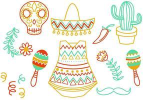 vetores mexicanos do doodle grátis