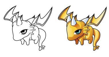 página para colorir desenho animado dragão bebê voando vetor