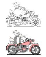 Página para colorir de desenhos animados adoráveis de gatos e pandas em motocicletas