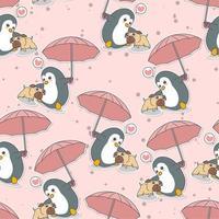 sem costura adorável pinguim segurando guarda-chuva com padrão de cachorro