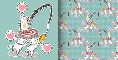 personagens de gatos kawaii perfeitos movendo seu padrão de objetivo
