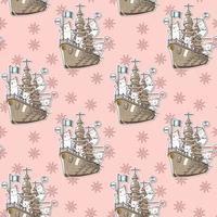 gatos kawaii perfeitos com o padrão do navio de guerra vetor