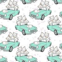 gatos kawaii desenhados sem costura em padrão de carro azul