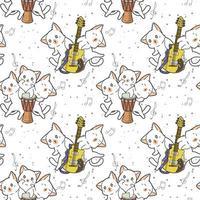 personagens de gatos kawaii com padrão de bateria e guitarra