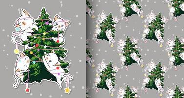 personagens adoráveis de gatos sem costura com padrão de árvore de natal vetor