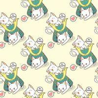 gatos kawaii perfeitos e padrão de capacete de samurai vetor