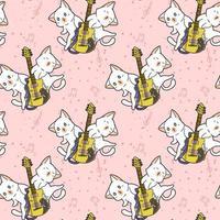 gatos kawaii perfeitos e padrão de guitarra vetor