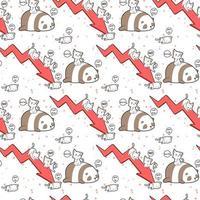 personagens de gato e panda kawaii com padrão de seta vermelha vetor