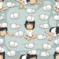 padrão de gato e menina branco sem costura