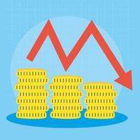 moedas de ouro com a seta para baixo, mercado de ações quebrando vetor