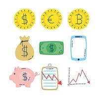 pacote de ícones de economia e finanças vetor