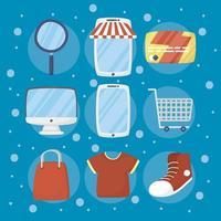 pacote de ícones de tecnologia de comércio eletrônico e compras online