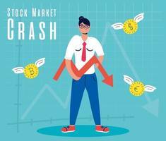 empresária com ícone de quebra do mercado de ações