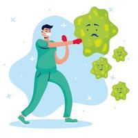 médico lutando contra vírus personagens cômicos vetor