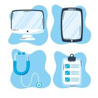 conjunto de ícones de gadgets e tecnologia de saúde online vetor