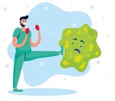 médico lutando com personagens de quadrinhos de vírus vetor