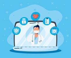 tecnologia de saúde online via laptop
