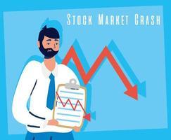 empresário com ícone de quebra do mercado de ações