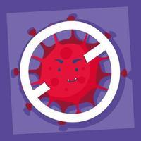 coronavírus com personagem de quadrinhos de símbolo proibido vetor