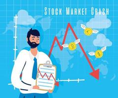 empresário com ícone de quebra do mercado de ações vetor