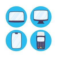 conjunto de ícones de tecnologia de pagamento online de gadgets vetor