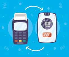 tecnologia de pagamento online com smartphone vetor