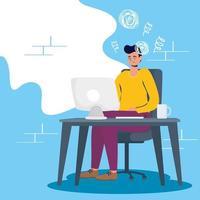 homem estressado usando o computador vetor