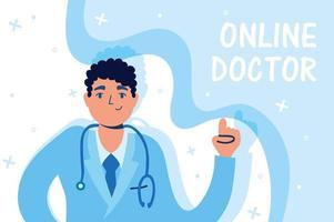 tecnologia de saúde online com caráter médico vetor