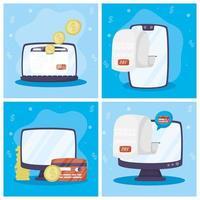 conjunto de tecnologia de pagamento online de gadgets vetor