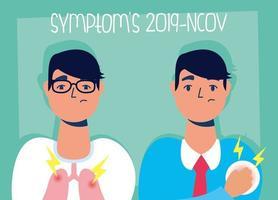 banner de prevenção e sintomas de coronavírus vetor