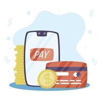tecnologia de pagamento online com cartão de crédito vetor