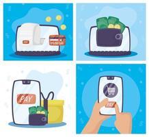 conjunto de tecnologia de pagamento online de gadgets