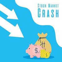poupança porquinho com seta para baixo, mercado de ações quebrando
