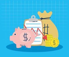 conjunto de ícones de economia e finanças vetor