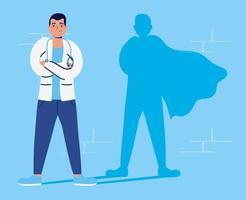 médica como super heroína