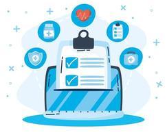 tecnologia de saúde online via laptop vetor