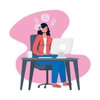 mulher estressada usando o computador vetor
