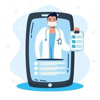 tecnologia de saúde online via smartphone vetor