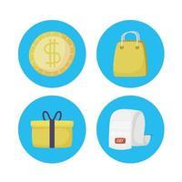 conjunto de ícones de tecnologia de pagamento online vetor