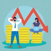 empresários com ícone de queda do mercado de ações