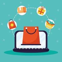 compras online e comércio eletrônico via laptop
