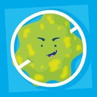 vírus com personagem de quadrinhos de símbolo proibido vetor