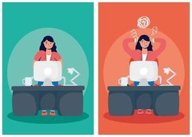 conjunto de mulher estressada trabalhando vetor