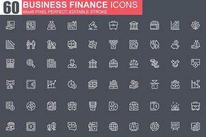 conjunto de ícones de linha fina de finanças de negócios vetor